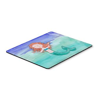 Ginger Mermaid Watercolor Mouse Pad, Hot Pad or Trivet