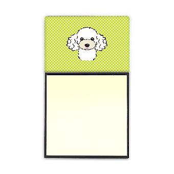 Lime Green White Poodle Refiillable Sticky Note Holder or Postit Note Dispenser