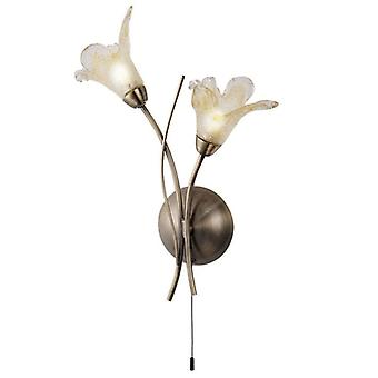 Lily Antique Brass And Glass Wall Light - Searchlight 4492-2AB