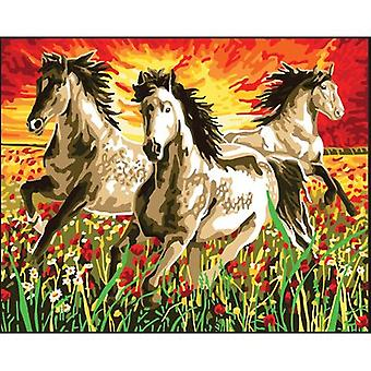 Collection D'Art Needlepoint Printed Tapestry Canvas 60X50cm-Horses At Sunset CD11868