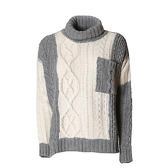 Woolrich women's WWMAG1696KY048685 white/grey Wool Sweater