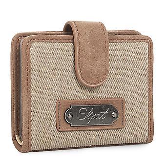 Portemonnee tas houder van vrouw met het sluiten van de druk. 12 compartimenten voor kaarten en documentatie. Canvas en faux leder. Borduurwerk. 929