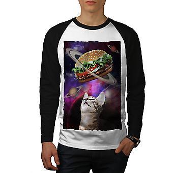Space Burger Cat Fun Men White (Black Sleeves)Baseball LS T-shirt | Wellcoda