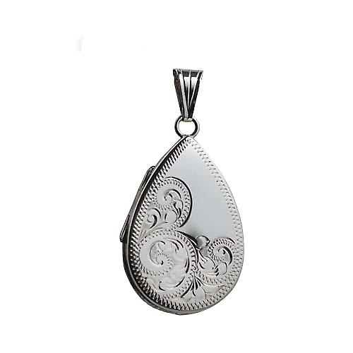 Silver 28x19mm hand engraved flat teardrop Locket