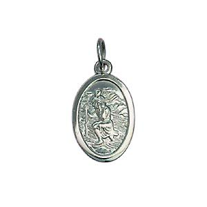 9ct White Gold 17x11mm oval St Christopher Pendant