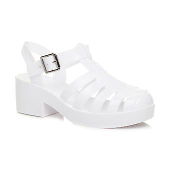 Ajvani womens baixa meados gladiador de geleia de borracha de bloco de calcanhar, cortar sapatos sandálias retrô