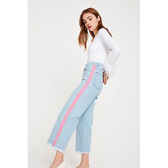 See You Never Jeans With Pink Stripe Detail