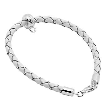 Burgmeister leather bracelet white plaited, JHE1065-529, 925 sterling silver rhodanized