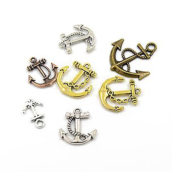 Packet 30 Grams Multicolour Tibetan 5-40mm Anchor Charm/Pendant Mix HA06715
