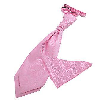 Baby vaaleanpunainen Paisley häät Cravat & taskussa neliön Set