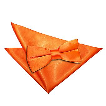 Bränd Orange oformaterad Satin fluga & Pocket Square Set