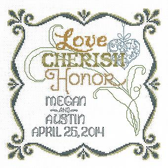 Honoring Marriage Wedding Record Counted Cross Stitch Kit-9.5