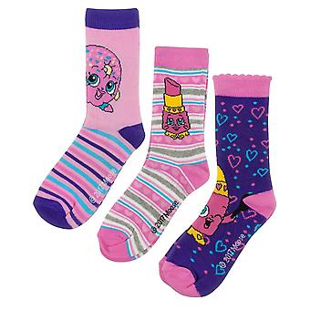 Shopkins Childrens Girls Assorted Socks Set (3 Pairs)