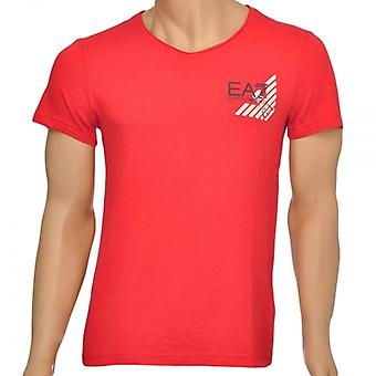 EA7 Emporio Armani Sea World Core Eagle V-Neck T-Shirt, Red, X Large