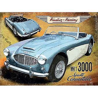 Austin Healey Mk1 3000 Sport Cabrio große Stahl unterzeichnen 400 X 300 Mm