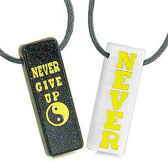 Aldrig par opgive amuletter bedste venner Yin Yang Goldstone hvid simulerede Cats Eye halskæder