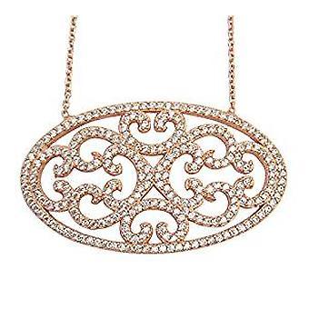 Кружевные овальном ожерелье 18-каратного розового золота покрытием