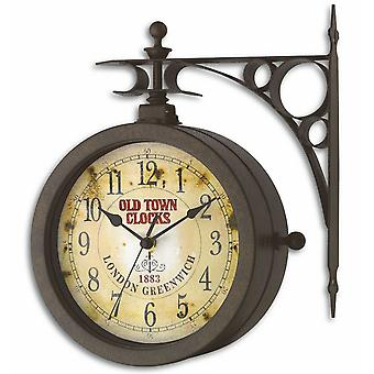 Wall clock watch quartz watch station NOSTALGIA thermometer antique look weatherproof