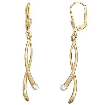 golden earrings boutons 375 Gold Yellow Gold 2 cubic zirconia earrings
