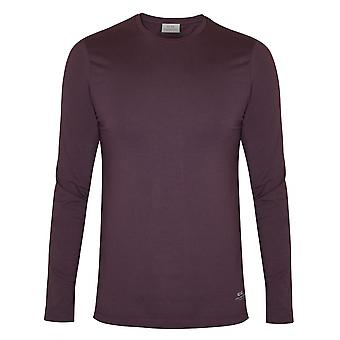 CC Collection Corneliani Corneliani Burgundy Long Sleeve Jersey T-Shirt
