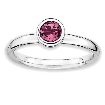 Lunetta di argento lucidato placcato in rodio impilabile espressioni basso 5 millimetri rotonda rosa Tourm. Anello - anello taglia: 5-10