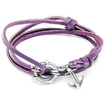 Anchor and Crew Clyde Silver and Leather Bracelet - Grape Purple
