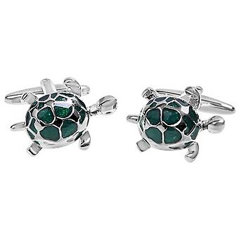 Zennor Turtle Cufflinks - Green/Silver