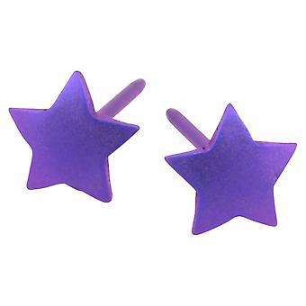 Ti2 titanio geométricas estrellas pendientes - púrpura Imperial