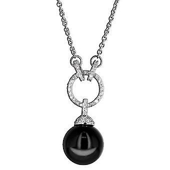 Ketting met hanger van 925 Sterling zilver sieraden, Black Pearl, witte Zirkonia