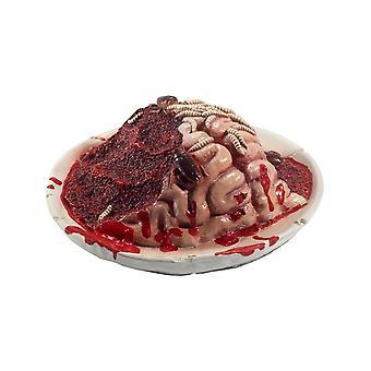 Latex blodig Gourmet råtnende hjernen Plate Prop, rød, med kryp & Cockroaches, 27x27x10cm / 11x11x4inch
