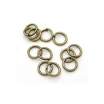 Packet 400+ Antique Bronze Plated Iron Round Open Jump Rings 0.7 x 6mm HA11775