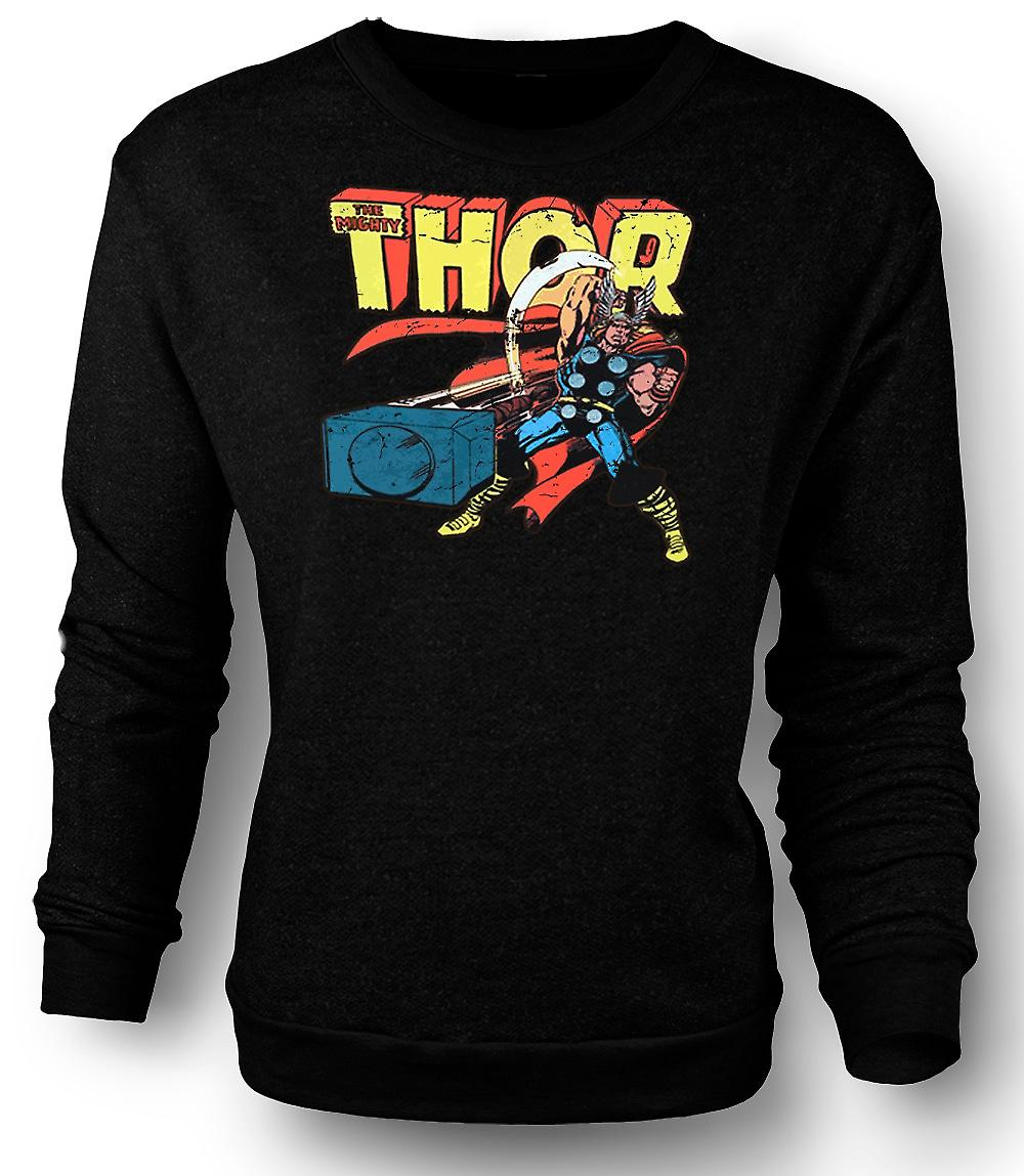 Mens Sweatshirt The Mighty Thor In Action