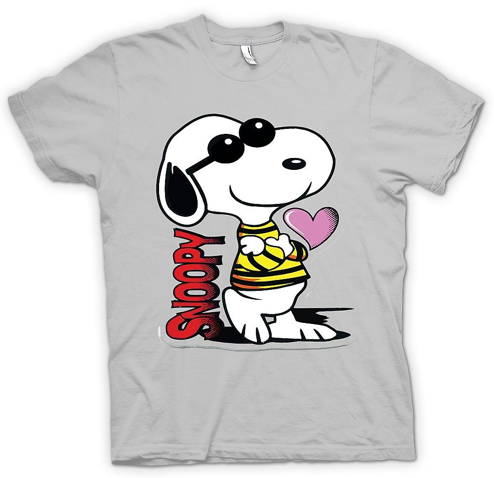 Mens T-shirt-Snoopy Cartoon met hart