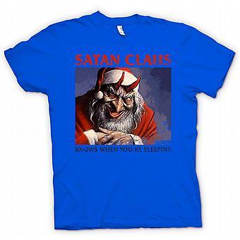 Mens T skjorte Satan Claus vet når din sover - morsomme julen