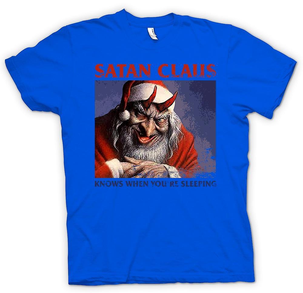 Mens t-skjorte-Satan Claus vet når din sover - morsomme julen