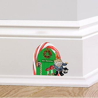 Full Colour Elf Workshop Door V4 Wall Sticker