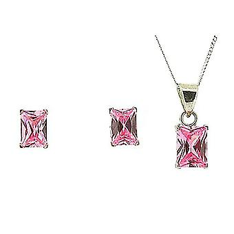 TOC Sterling Silver Pink CZ Oblong Earring & Pendant Necklace 18