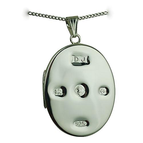 Silver 35x26mm plain display Hallmarked flat oval Locket with a curb Chain 24 inches