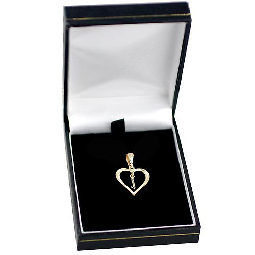 9ct Yellow Gold 18x18mm heart with a hanging Initial L