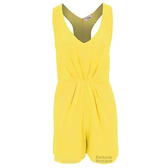 Ladies Sleeveless Racer Back Chiffon Lined V Neck Zip Back Party Shorts Playsuit