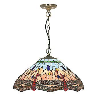 Dragonfly antik mässing och Tiffany glas hängande montering - Searchlight 1283-16