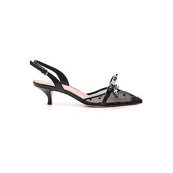 Red Valentino Black Leather Sandals