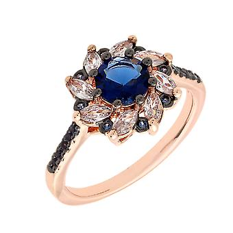 Bertha Juliet Collection Women's 18k RG Plated Blue Flower Fashion Ring Size 8