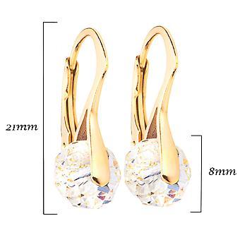 Briolette des femmes autour de boucles d'oreilles avec des cristaux de Swarovski
