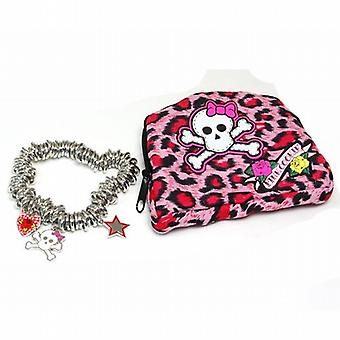 Pink Cookie Silvertone Heart  Star & Skull Charm Bracelet & Matching Purse