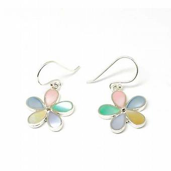 Toc Sterling Silver Mother Of Pearl Effect Flower Drop Earrings