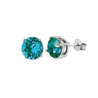 Eternal Collection Starlet Sterling Silver Deep Aqua Austrian Crystal Solitaire Stud Earrings