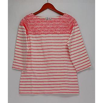 Denim & Co. Top Striped 3/4 Sleeve Top with Lace Soft Coral Pink A262538