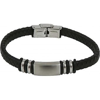 Clio Blue BR2349S-black - Bracelet steel black man leather bracelet