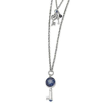 Silver-tone Multi-strand Fancy Lobster Closure Sodalite and Blue Crystal Key Pendants Necklace